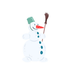 funny snowman character with a bucket on his head vector image