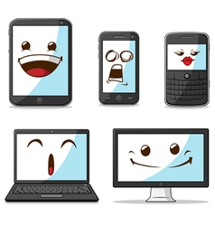 Gadget Smart Phone Laptop Computer with Funny vector image