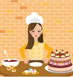 Girls woman chef cooking baking cake in kitchen vector