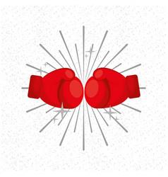 gloves boxing sport sunburst background vector image