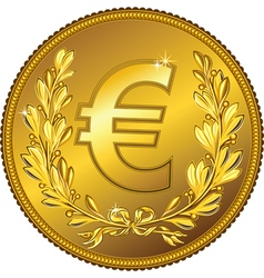 gold Money euro coin vector image