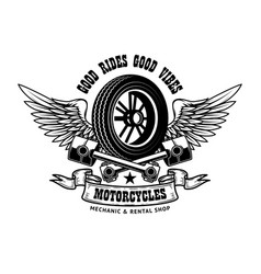 good rides good vibes emblem template with winged vector image