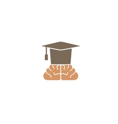 graduation hat and brain for logo design vector image