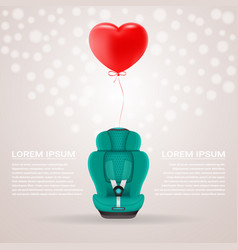 green child car seat with red baloon in shape of vector image