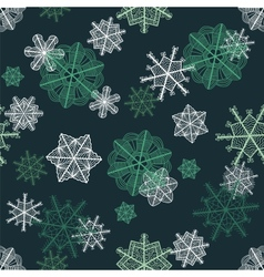 Green fancy snowflakes seamless pattern vector image