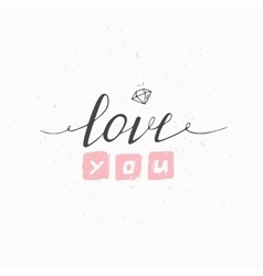 Greeting card with hand drawn sign LOVE YOU vector image