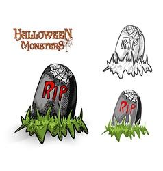 Halloween monsters spooky tombstone EPS10 file vector image