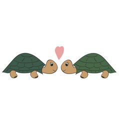 hand drawn a pair of turtles vector image