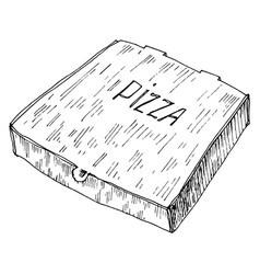 Hand drawn of box to go with pizza vector