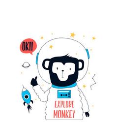 Hand drawn space elements astronaut monkey doodle vector