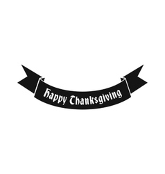 Happy Thanksgiving Day ribbon icon simple style vector