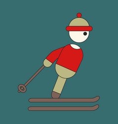 icon in flat design skier vector image
