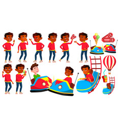 indian boy poses set amusement park drive vector image
