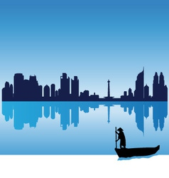 jakarta silhouette skyline vector image