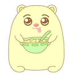 kawaii bear with a plate with food image design vector image