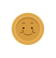 Kawaii gold coin currency money cartoon vector