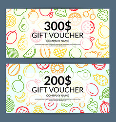 Line fruits icons discount or gift voucher vector
