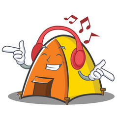 Listening music tent character cartoon style vector