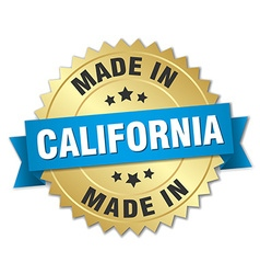 made in California gold badge with blue ribbon vector image