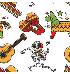 mexican culture and mexico symbols skeleton vector image