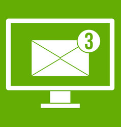 monitor screen with email sign icon green vector image