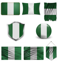 Nigeria flag glossy button vector