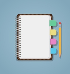 Notebook with bookmarks and pencil vector image