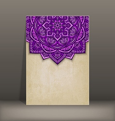 old paper card with purple floral circular pattern vector image