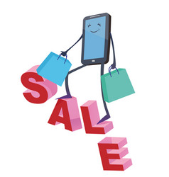 online shopping big smartphone on sale text vector image