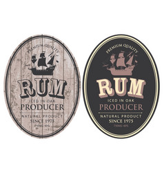 Oval labels for rum with ship on wooden background vector