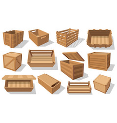parcels pallets and wood crates wooden boxes vector image
