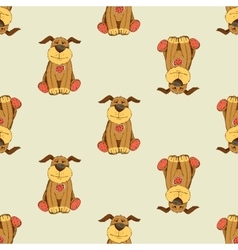 pattern with cartoon dog vector image