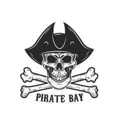 Pirate skull with crossbones design elements vector