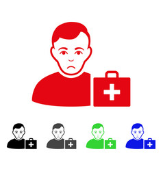 Sad first-aid man icon vector