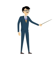 School teacher with pointer in flat design vector