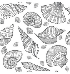 Seamless pattern with shells in ethnic boho style vector