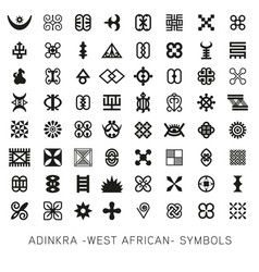 set akan and adinkra -west african- symbols vector image