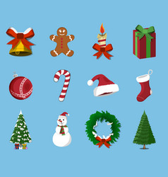 Set of christmas 12 label xmas icon cartoon vector