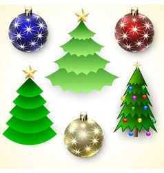 Set of Christmas Trees and Balls vector image