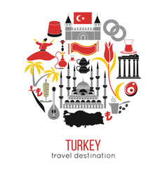 set of country turkey culture and traditional vector image