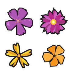 Set of geometric flowers vector