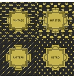Set of gold hipster fashion geometric seamless vector
