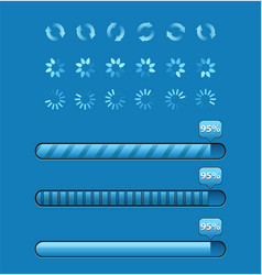 set of progress bars with percentages vector image