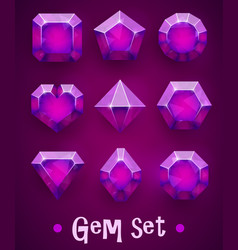 Set realistic pink gems various shapes ruby vector