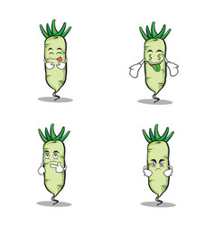 Set white radish character cartoon vector