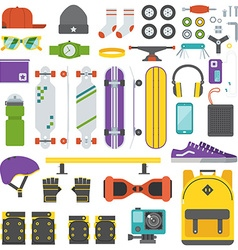 Skateboarder Equipment and Gear Set vector
