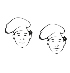 Smiling young chef in a toque vector