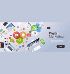 Social media digital marketing concept top angle vector