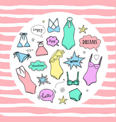Summer swimming suits collection swimsuit sketch vector