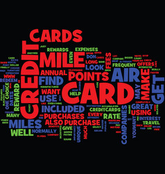 The air mile credit card text background word vector
